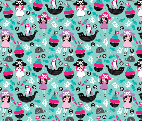 Cute little girls pirate fish coral and whale ocean life illustration pattern fabric by littlesmilemakers on Spoonflower - custom fabric