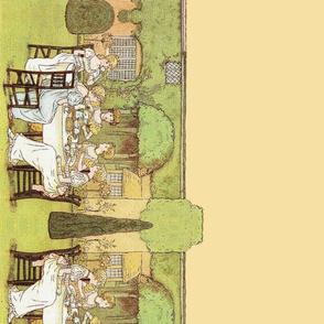 Kate Greenaway  ~ Ladies At Tea In The Garden ~ Border Print