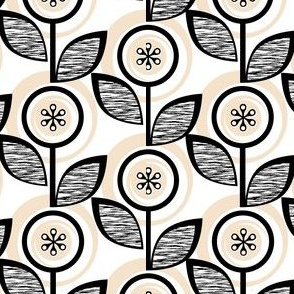 Footnote Flower (Black & White) || midcentury modern garden floral flowers leaves nature upholstery