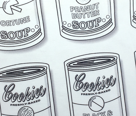 Snicker Doodle Soup (Color-Your-Own) || jumbo  coloring book cookies cans pop art food typography