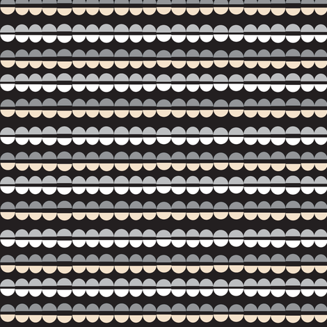 Popcorn Strings (Black & White) || Christmas geometric abstract holiday garland ornament stripes fabric by pennycandy on Spoonflower - custom fabric