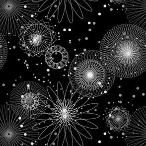 Spiroworks (Black & White) || geometric spirograph fireworks stars starburst 4th of July patriotic outer space galaxy