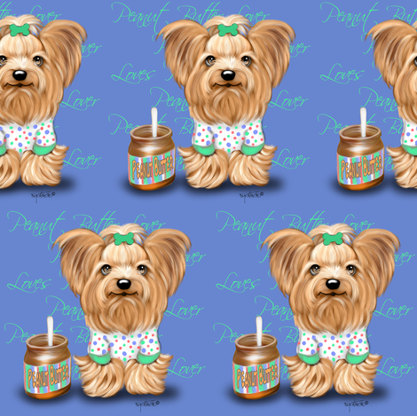 Peanut Butter Lover Yorkie M fabric by catialee on Spoonflower - custom fabric