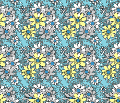fresh daisies cool vanilla fabric by beesocks on Spoonflower - custom fabric
