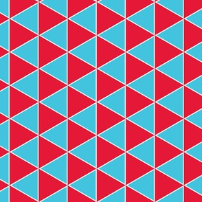 triangle geometric in aqua and red