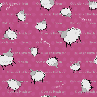 Pink Sheep Ditsy Dot Print