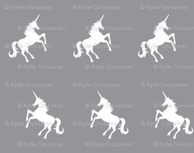 Unicorn white on grey