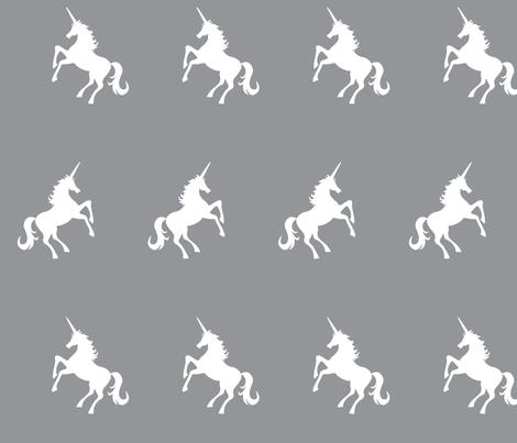 Unicorn white on grey fabric by kc_creates on Spoonflower - custom fabric