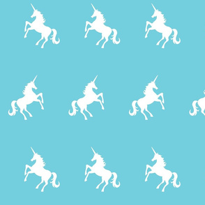 Unicorns white on aqua