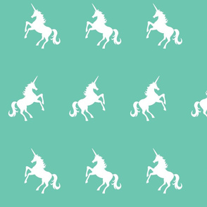 Unicorn White on Teal