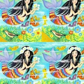 vintage mermaids ocean sea underwater fishes aquatic queen princess fairy tales stories retro birds flowers fantasy mythical myths mythology marine