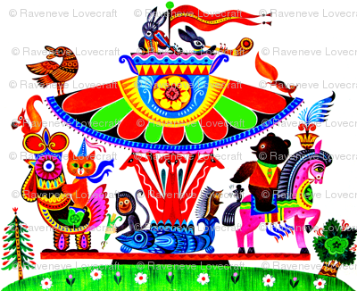 fishes folk art tribal carousel trees roosters birds bunny rabbits musicians violin horses bears hedgehogs porcupines mouse rats monkeys giraffe bunnies vintage