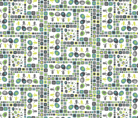 Flower Quilt Green and Blue fabric by mktextile on Spoonflower - custom fabric