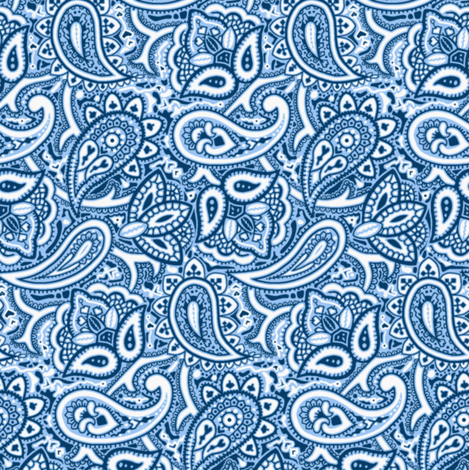 Persnickety Paisley ~ Jasperware, Lonely Angel Blue and White fabric by peacoquettedesigns on Spoonflower - custom fabric