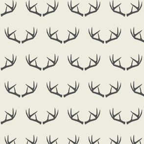 Antlers-Cream & Dark Gray