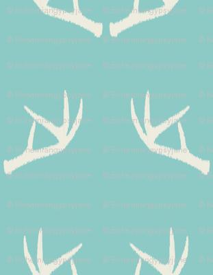 Antlers-Turquoise Sky & Cream