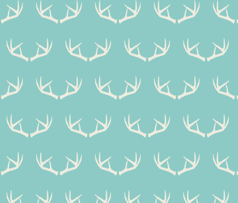 Antlers-Turquoise Sky & Cream fabric by bohemiangypsyjane on Spoonflower - custom fabric