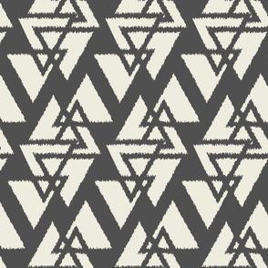 Stacked Triangles-Dark Gray & Cream