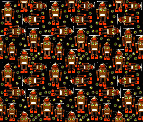Little Brown Robots fabric by whimzwhirled on Spoonflower - custom fabric