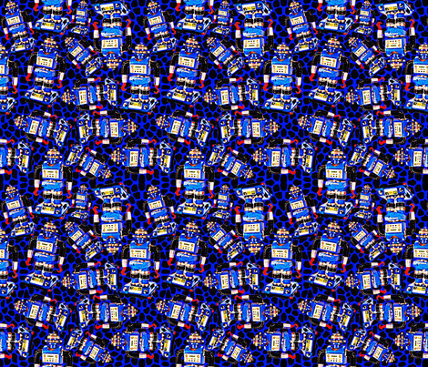 Robot Ditzy in Blue fabric by whimzwhirled on Spoonflower - custom fabric