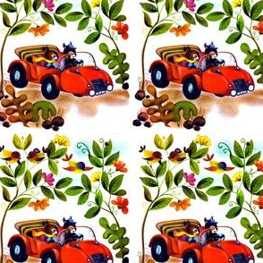 Anthropomorphic vintage retro kitsch squirrels chipmunks convertible cars drive driving animals plants flowers birds acorns leaf leaves
