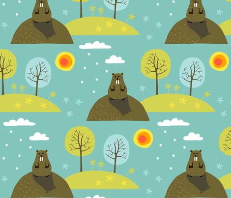 Groundhog day (large) fabric by heleen_vd_thillart on Spoonflower - custom fabric