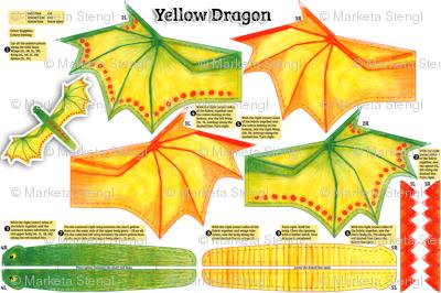 Yellow Dragon Plushie Cut and Sew