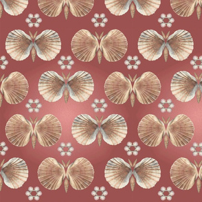 Shell butterflies in Pantone Marsala red