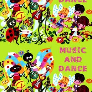vintage ladybird bees butterflies butterfly drums cymbals clarinet oboe grasshoppers guitars children boys girls flowers musicians party music insects