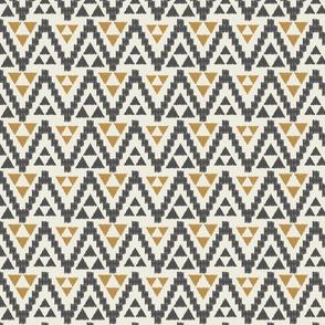 Geo Tribal- Dark Gray, Mustard, & Cream