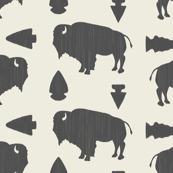 Buffalo & Arrowheads-Dark Gray & Cream