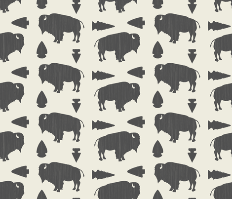 Buffalo & Arrowheads-Dark Gray & Cream fabric by bohemiangypsyjane on Spoonflower - custom fabric