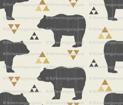 Bears & Triangles-Dark Gray, Mustard, & Cream