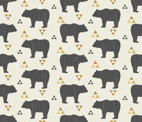 Bears & Triangles-Dark Gray, Mustard, & Cream fabric by bohemiangypsyjane on Spoonflower - custom fabric