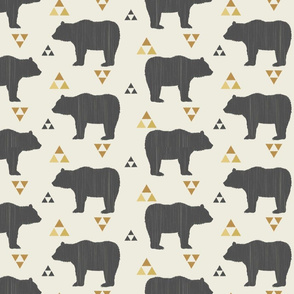 Bears & Triangles-Dark Gray, Mustard, & Cream