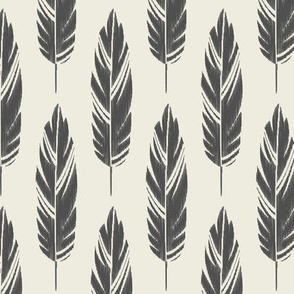 Feathers-Cream & Dark Gray