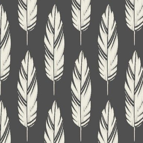 Feathers-Dark Gray & Cream
