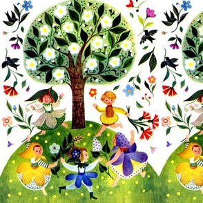 spring summer dance dancing peasant folk art farmer rainbow colorful multi color trees flowers leaves pixies elf elves fairy fairies party children