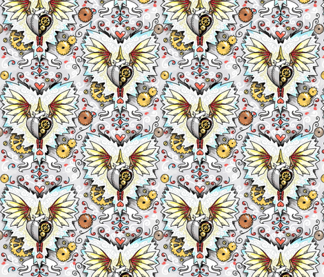 deconstructed cupid steampunk Valentine's heart fabric by beesocks on Spoonflower - custom fabric