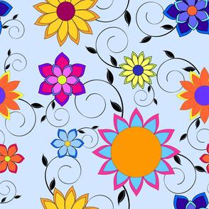 Flashy Flower Garden Blue