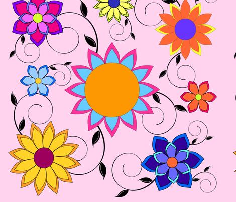 Flashy Flower Garden Pink fabric by sssowers on Spoonflower - custom fabric