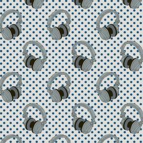 Headphones on blue dots