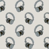 headphones on grey