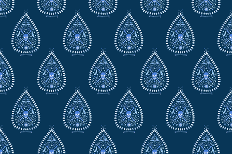 Paisley is Dead_Blues on Navy fabric by danikaherrick on Spoonflower - custom fabric