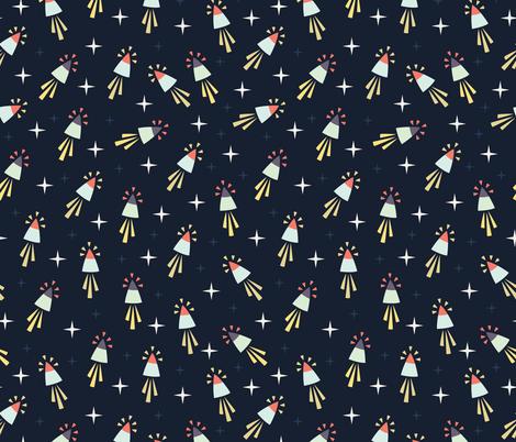 Space rocket fabric kiraseiler spoonflower for Spaceman fabric