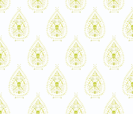 Paisley_is_Dead_in Citron fabric by danika_herrick on Spoonflower - custom fabric