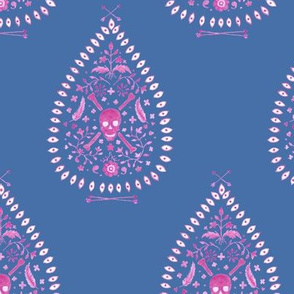 Paisley_is_Dead_raspberry_on blue