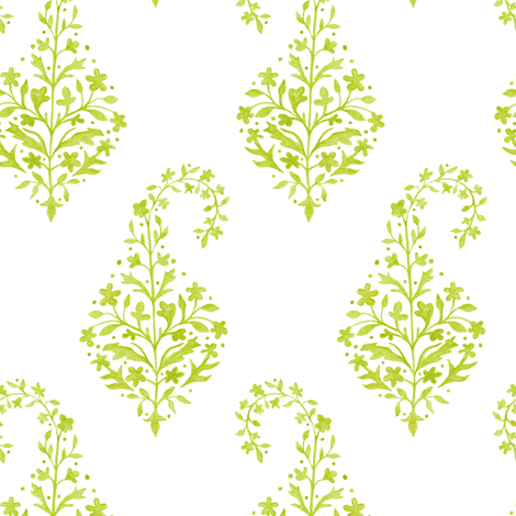 Painted_Paisley in Citron fabric by danikaherrick on Spoonflower - custom fabric