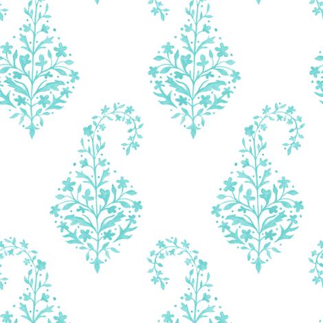 Painted_Paisley in Aqua fabric by danikaherrick on Spoonflower - custom fabric