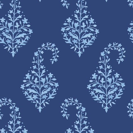 Painted Paisley_Blue_on_Navy fabric by danikaherrick on Spoonflower - custom fabric
